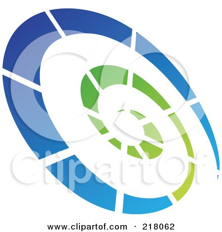 Royalty-Free (RF) Clipart Illustration of an Abstract Tilted Green And Blue Spiral Logo Icon by cidepix