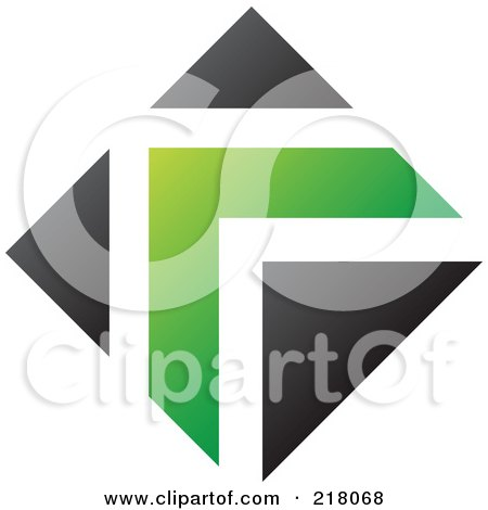 Royalty-Free (RF) Clipart Illustration of an Abstract Green And Black Arrow Logo Icon by cidepix
