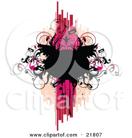 Clipart Picture Illustration of a Punk Rock Music Background Of A Blank Black Text Space With Wings, Vines And Tapes Over Pink, Tan And White by OnFocusMedia