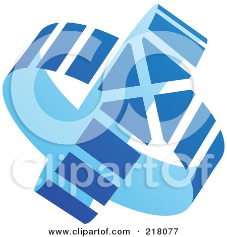 Royalty-Free (RF) Clipart Illustration of an Abstract Double Blue Circle Arrow Logo Icon by cidepix