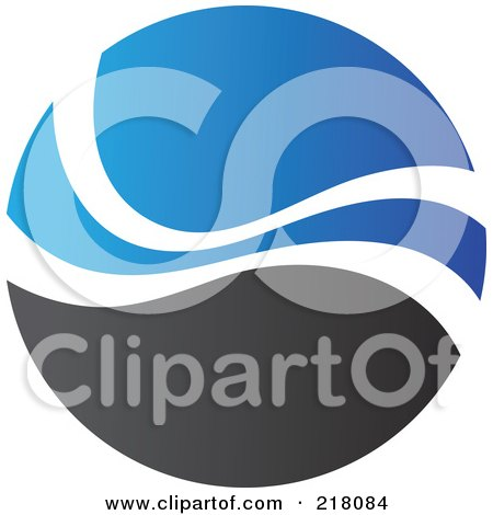 Royalty-Free (RF) Clipart Illustration of an Abstract Blue And Black Circular Logo - 3 by cidepix