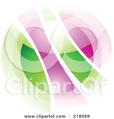 Royalty-Free (RF) Clipart Illustration of an Abstract Blurry Green And Purple Orb In Motion Logo Icon by cidepix