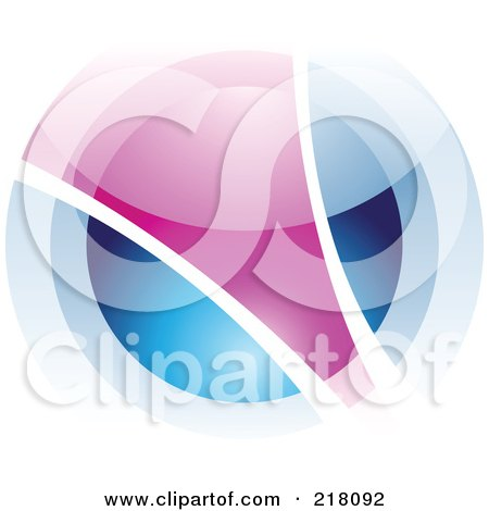 Royalty-Free (RF) Clipart Illustration of an Abstract Blurry Blue And Purple Orb In Motion Logo Icon by cidepix