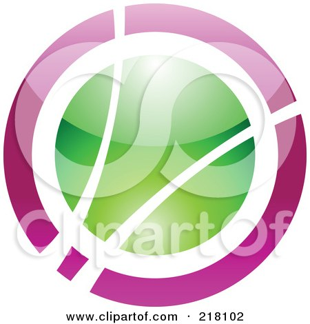 Royalty-Free (RF) Clipart Illustration of an Abstract Purple And Green Orb Logo Icon by cidepix