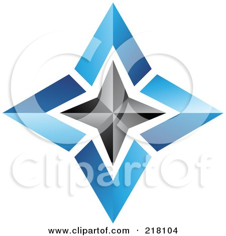 Royalty-Free (RF) Clipart Illustration of an Abstract Blue And Black Star Logo Icon - 3 by cidepix