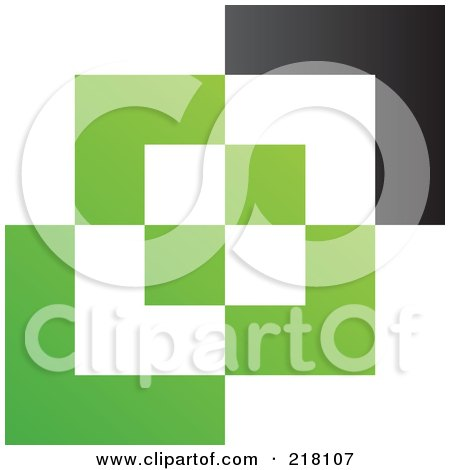 Royalty-Free (RF) Clipart Illustration of an Abstract Green, White And Black Cubic Logo Icon Background by cidepix