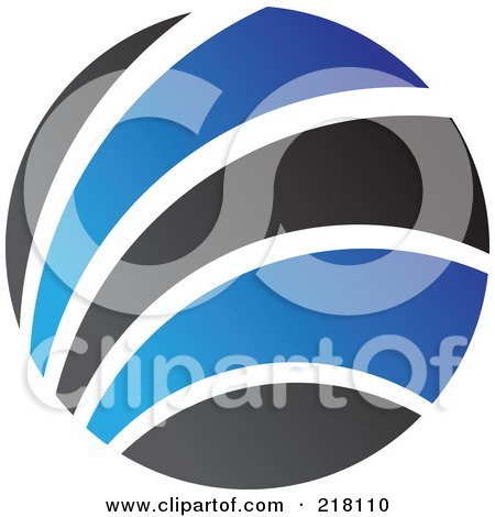 Royalty-Free (RF) Clipart Illustration of an Abstract Blue And Black Circular Logo - 2 by cidepix