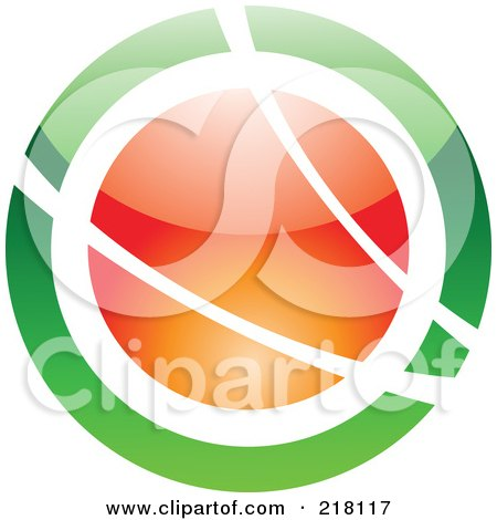 Royalty-Free (RF) Clipart Illustration of an Abstract Green And Orange Orb Logo Icon by cidepix
