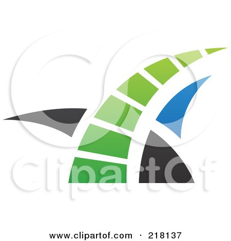 Royalty-Free (RF) Clipart Illustration of an Abstract Blue, Green And Black Swoosh Logo Icon - 3 by cidepix