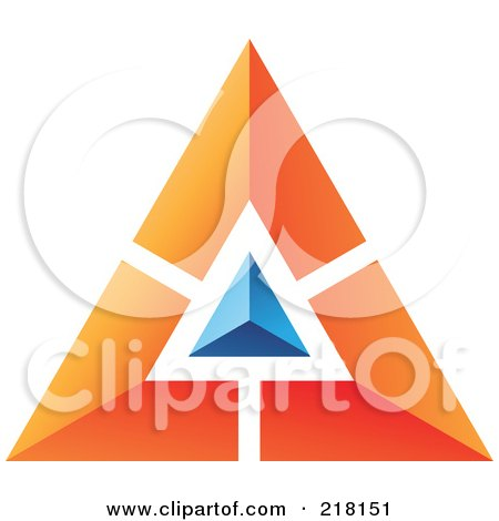 Royalty-Free (RF) Clipart Illustration of an Abstract Orange Pyramid Or Triangle Icon With A Blue Top by cidepix