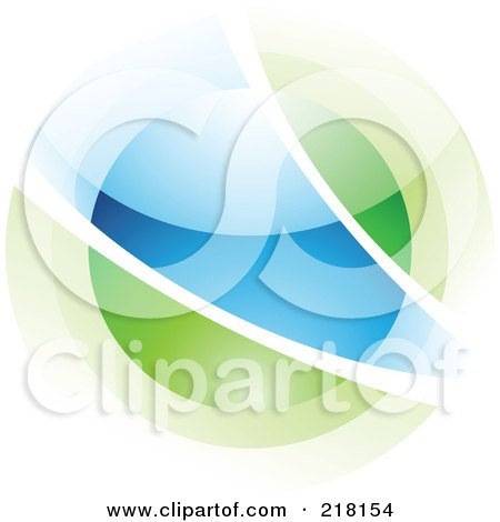 Royalty-Free (RF) Clipart Illustration of an Abstract Blurry Blue And Green Orb In Motion Logo Icon by cidepix