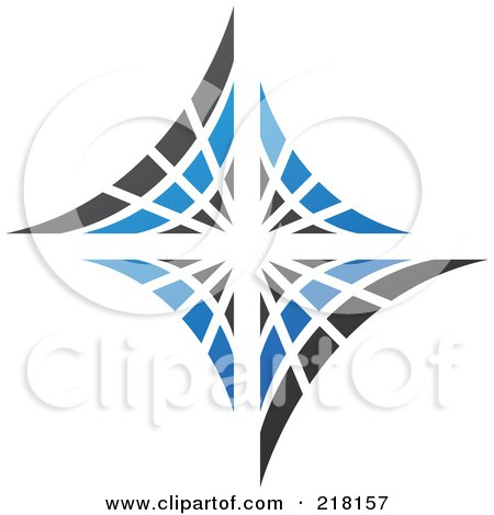 Royalty-Free (RF) Clipart Illustration of an Abstract Blue And Black Diamond Or Web Logo Icon by cidepix
