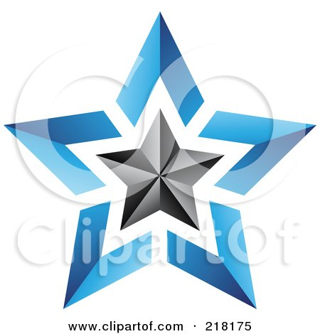 Royalty-Free (RF) Clipart Illustration of an Abstract Blue And Black Star Logo Icon - 1 by cidepix