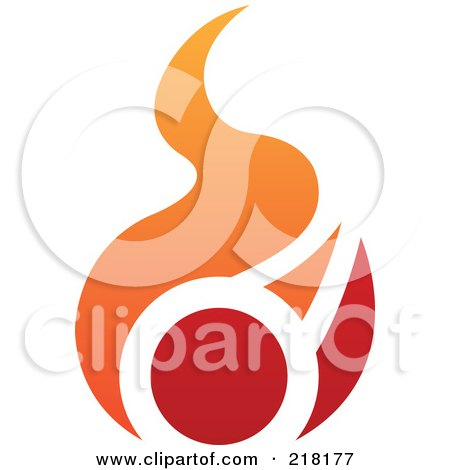 Royalty-Free (RF) Clipart Illustration of an Abstract Red And Orange Fire Logo Icon - 2 by cidepix