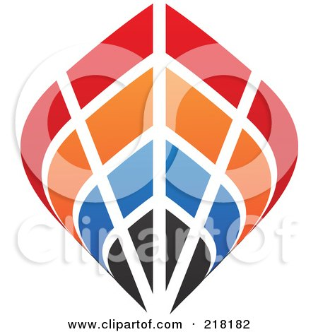 Royalty-Free (RF) Clipart Illustration of an Abstract Colorful Ship Logo Icon by cidepix