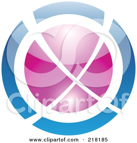 Royalty-Free (RF) Clipart Illustration of an Abstract Blue And Purple Orb Logo Icon by cidepix