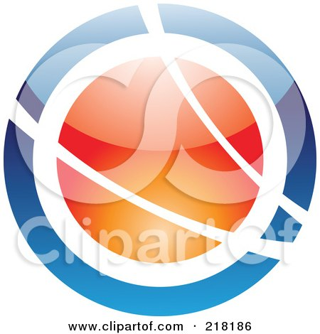 Royalty-Free (RF) Clipart Illustration of an Abstract Blue And Orange Orb Logo Icon by cidepix