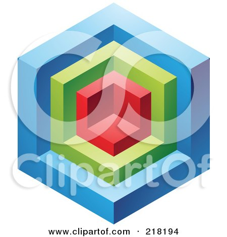 Royalty-Free (RF) Clipart Illustration of an Abstract Blue, Red And Green Cube Logo Icon by cidepix