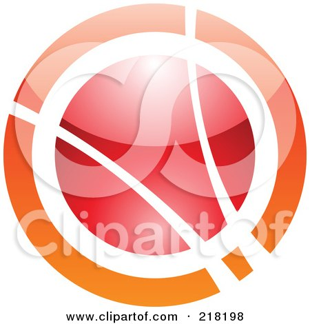 Royalty-Free (RF) Clipart Illustration of an Abstract Orange And Red Orb Logo Icon by cidepix