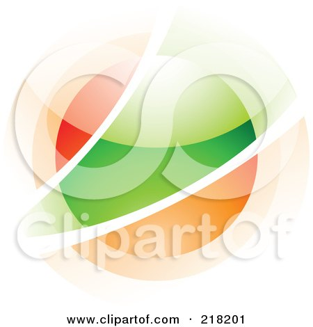 Royalty-Free (RF) Clipart Illustration of an Abstract Blurry Red, Green And Orange Orb In Motion Logo Icon by cidepix