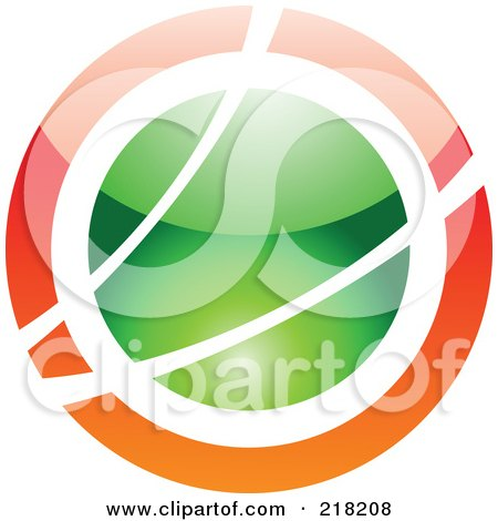 Royalty-Free (RF) Clipart Illustration of an Abstract Orange And Green Orb Logo Icon by cidepix