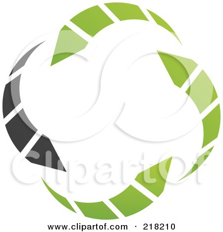 Royalty-Free (RF) Clipart Illustration of an Abstract Green And Black Circle Arrow Logo Icon by cidepix