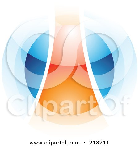 Royalty-Free (RF) Clipart Illustration of an Abstract Blurry Orange And Blue Orb In Motion Logo Icon - 1 by cidepix