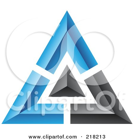 Royalty-Free (RF) Clipart Illustration of an Abstract Blue And Black Pyramid Or Triangle Icon by cidepix