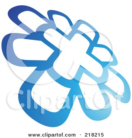 Abstract Blue Windmill Logo Icon Posters, Art Prints