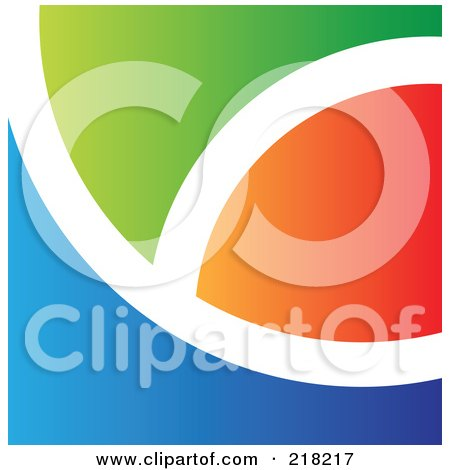 Royalty-Free (RF) Clipart Illustration of an Abstract Curved Orange, White, Green And Blue Logo, Icon, Or Background by cidepix