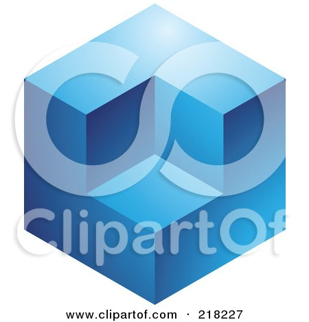 Royalty-Free (RF) Clipart Illustration of an Abstract Blue Cube Logo Icon by cidepix