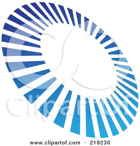 Royalty-Free (RF) Clipart Illustration of an Abstract Tilted Blue Line Circle Logo Icon by cidepix