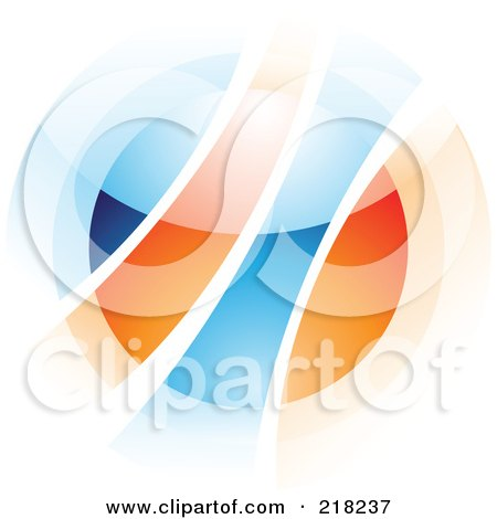 Royalty-Free (RF) Clipart Illustration of an Abstract Blurry Orange And Blue Orb In Motion Logo Icon - 2 by cidepix