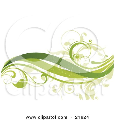Three Green Waves And Leafy Vines With Fading Texturing On A White Background Posters, Art Prints