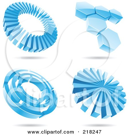 Royalty-Free (RF) Clipart Illustration of a Digital Collage Of Four Icy Blue Circle And Hexagon Logo Icons With Shadows by cidepix