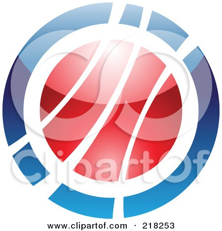 Royalty-Free (RF) Clipart Illustration of an Abstract Blue And Red Orb Logo Icon by cidepix