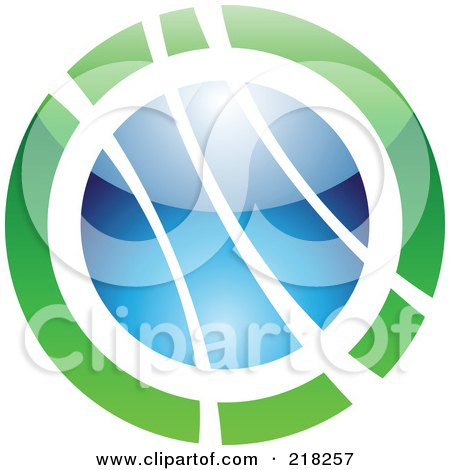 Royalty-Free (RF) Clipart Illustration of an Abstract Green And Blue Orb Logo Icon by cidepix