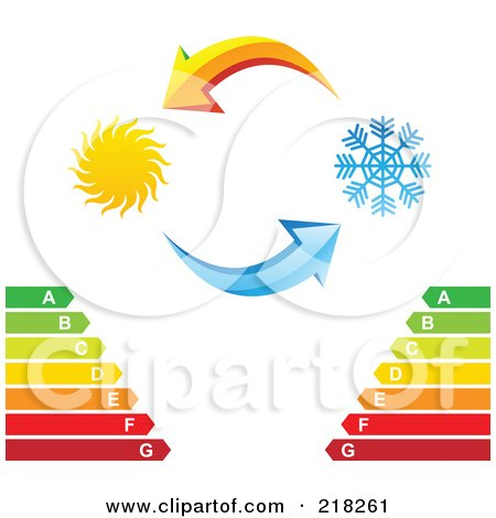 Royalty-Free (RF) Clipart Illustration of Yellow And Blue Arrows With A Sun And Snowflake Over An Energy Rating Chart by cidepix