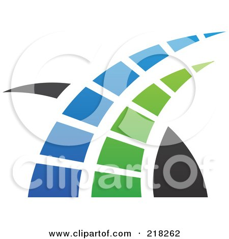 Royalty-Free (RF) Clipart Illustration of an Abstract Blue, Green And Black Swoosh Logo Icon - 1 by cidepix