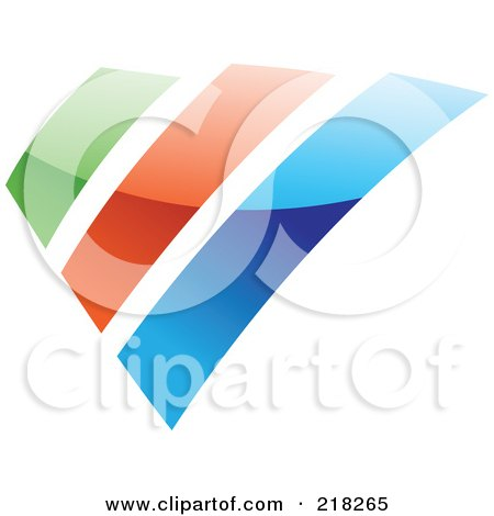 Royalty-Free (RF) Clipart Illustration of an Abstract Green, Orange And Blue Bar Logo Icon by cidepix