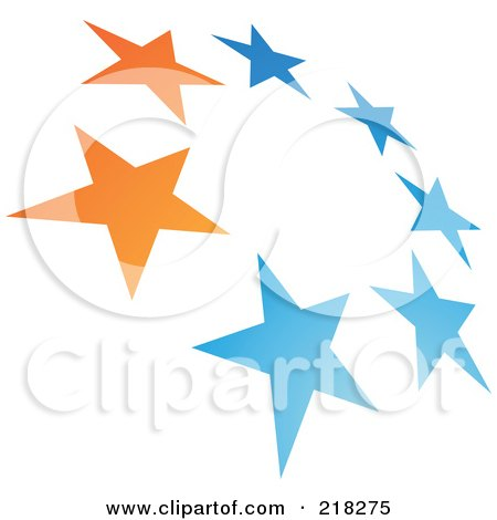 Royalty-Free (RF) Clipart Illustration of an Abstract Tilted Circle Of Stars Logo Icon by cidepix