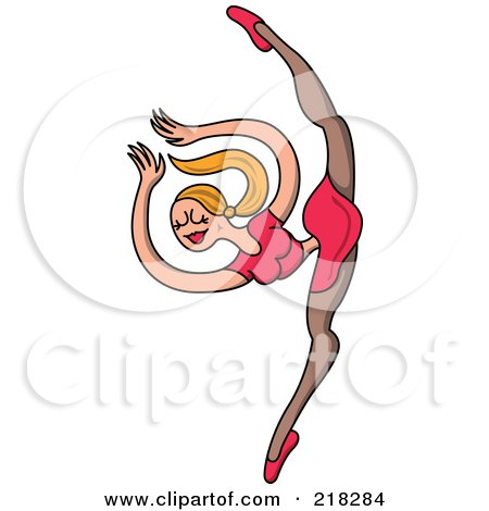 Royalty-Free (RF) Clipart Illustration of a Female Circus Dancer In A Pink Outfit, Balanced On One Leg by Zooco
