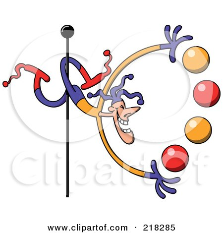 Royalty-Free (RF) Clipart Illustration of a Circus Man With His Legs Around A Pole, Juggling Balls by Zooco