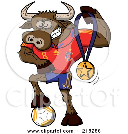 Royalty-Free (RF) Clipart Illustration of a Spanish Soccer Bull Resting His Foot On A Ball And Holding Up A Medal by Zooco