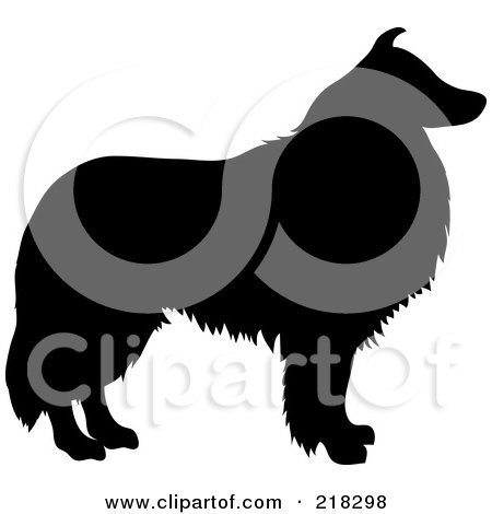 Royalty-Free (RF) Clipart Illustration of a Black Silhouetted Collie Dog In Profile by Pams Clipart