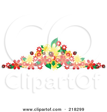 Royalty-Free (RF) Clipart Illustration of a Border Of Ladybugs And Colorful Flowers by Pams Clipart