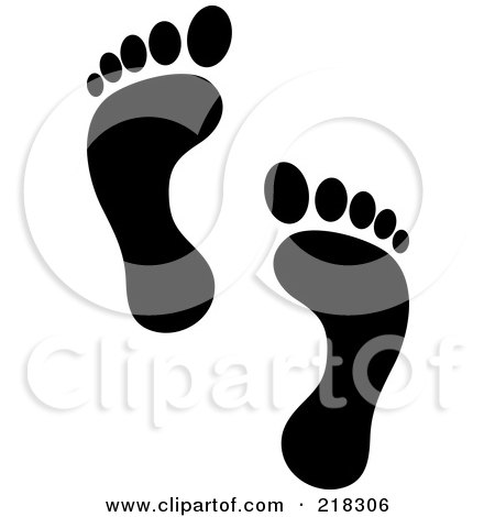 Royalty-Free (RF) Clipart Illustration of a Pair Of Black Human Footprints by Pams Clipart