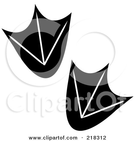 Royalty-Free (RF) Clipart Illustration of a Pair Of Black And White Duck Tracks by Pams Clipart