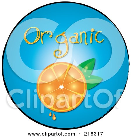 Royalty-Free (RF) Clipart Illustration of an Organic Halved Orange On A Blue Circle by Pams Clipart