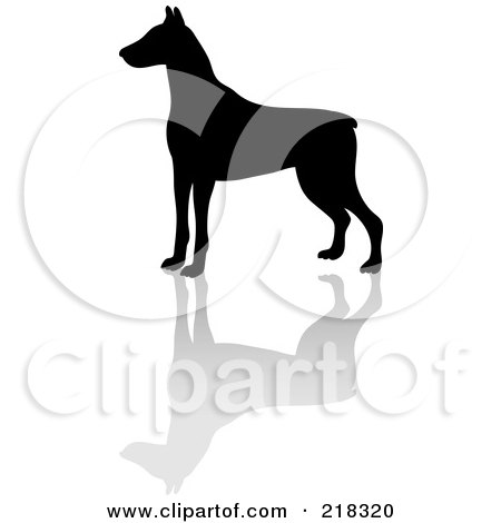 Royalty-Free (RF) Clipart Illustration of a Black Silhouetted Doberman Pinscher And Reflection by Pams Clipart